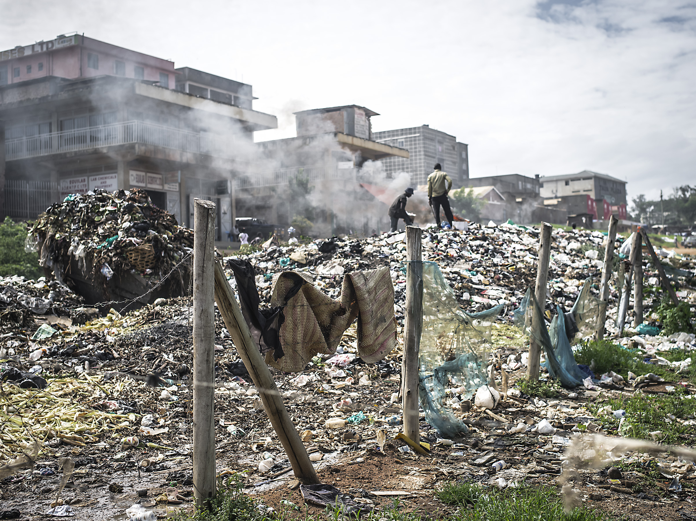 Burning trash in Mbarara.