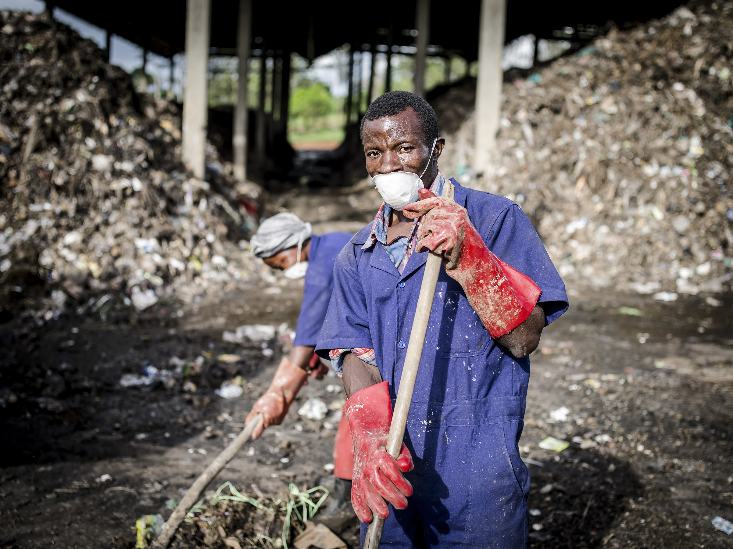 Workers form Katikolo composting plant.