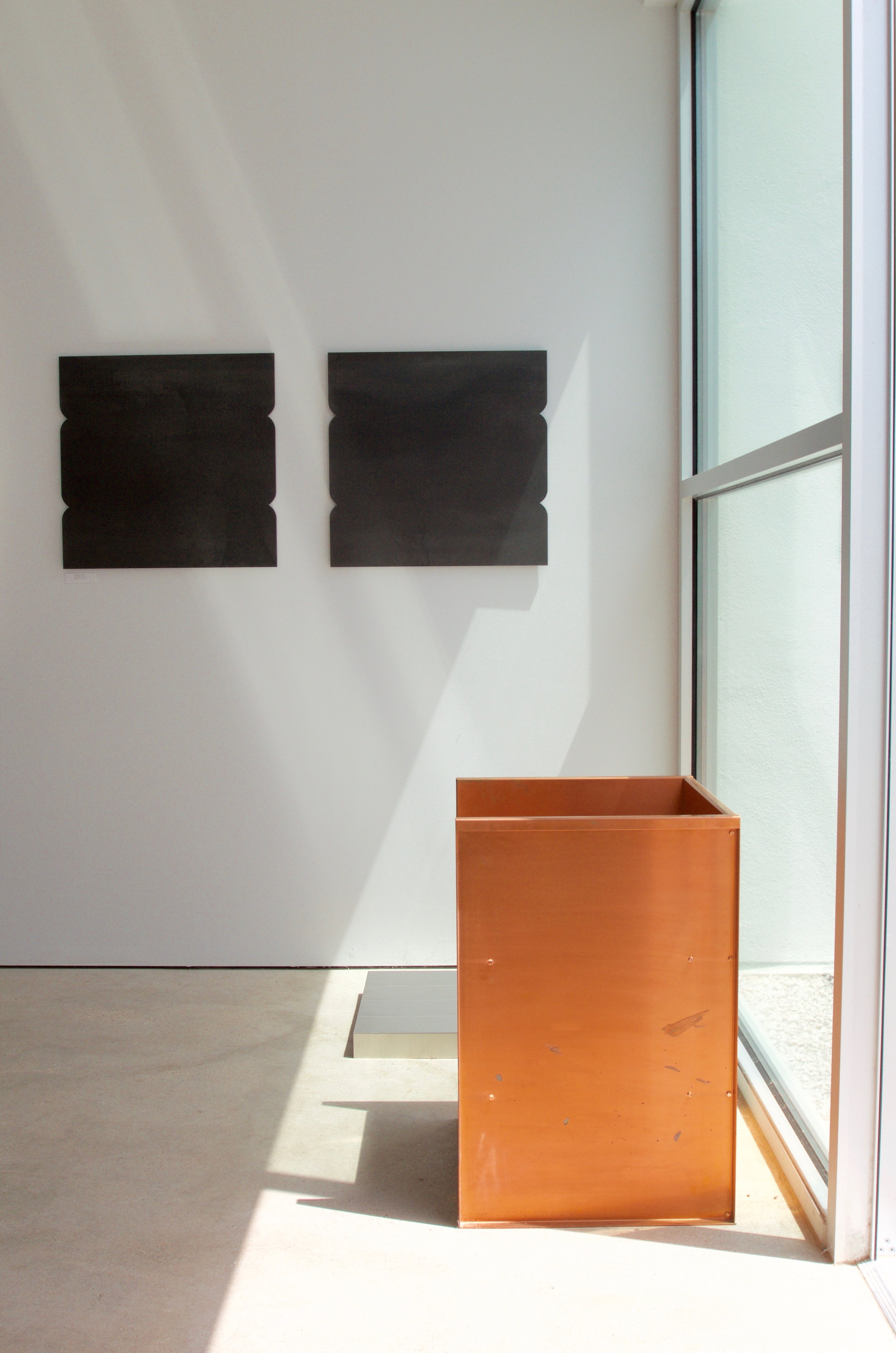 Cecilia Vissers / Blacksod Bay (diptych) / Donald Judd Multiple #1 (1967) & Copper chair