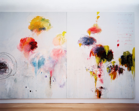 Cy Twombly, Untitled Painting (Say Goodbye Catullus, to the Shores of Asia Minor) (A Painting in Three Parts) (1994) (Source: Lonny)
