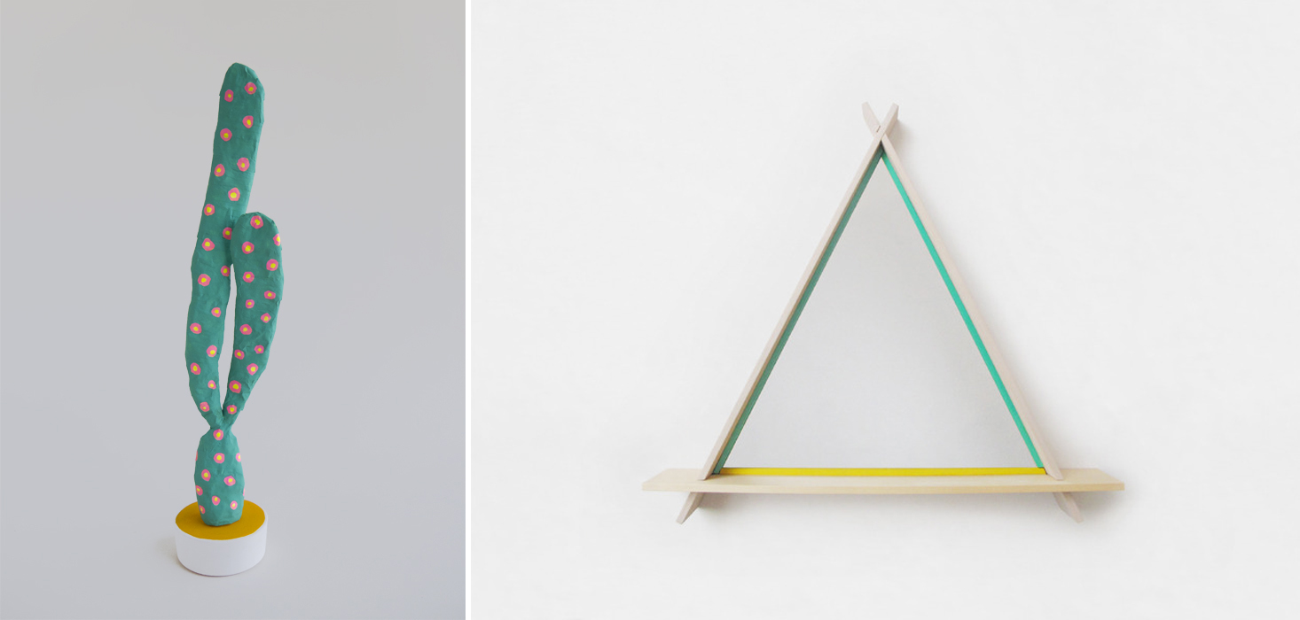 Left to right:   Untitled, Two-Arm Veronese Cactus   and   A-Frame Mirror in Nudes and Greens  .