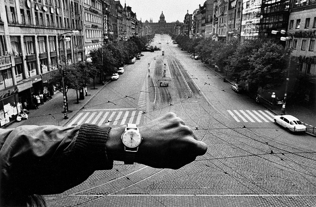 Prague , negative, 1968; print, 1990, Josef Koudelka, gelatin silver print. Image courtesy of and © Josef Koudelka/Magnum Photos