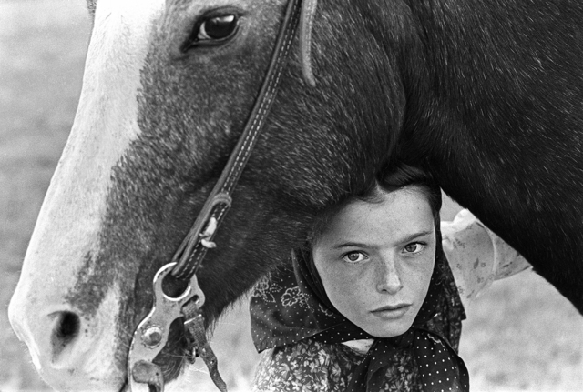 Hutterite Girl With Her Horse, Chattahoochee   (c) Copyright Laura Wilson
