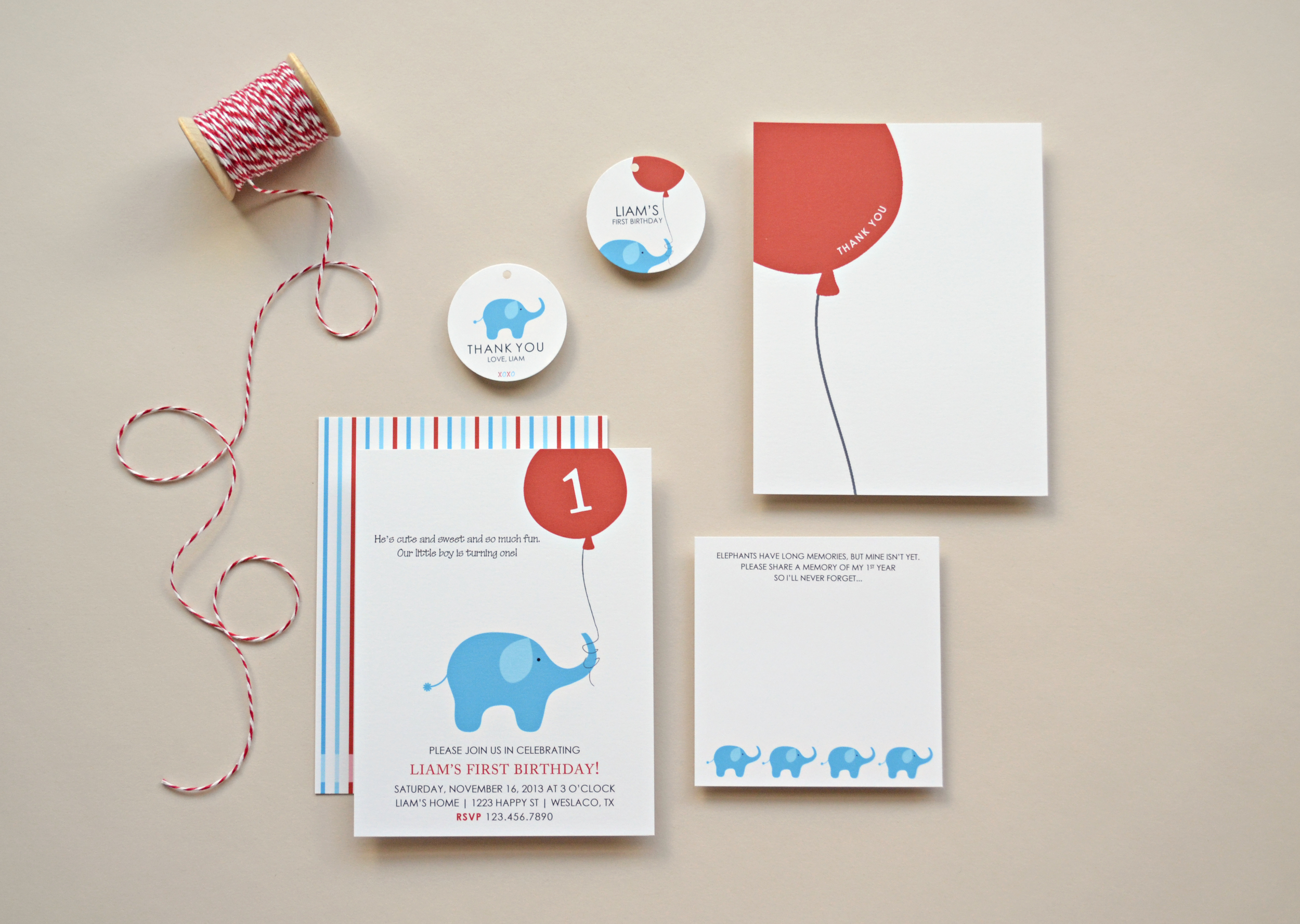 Custom Elephant Invitations by Simplicity Papers