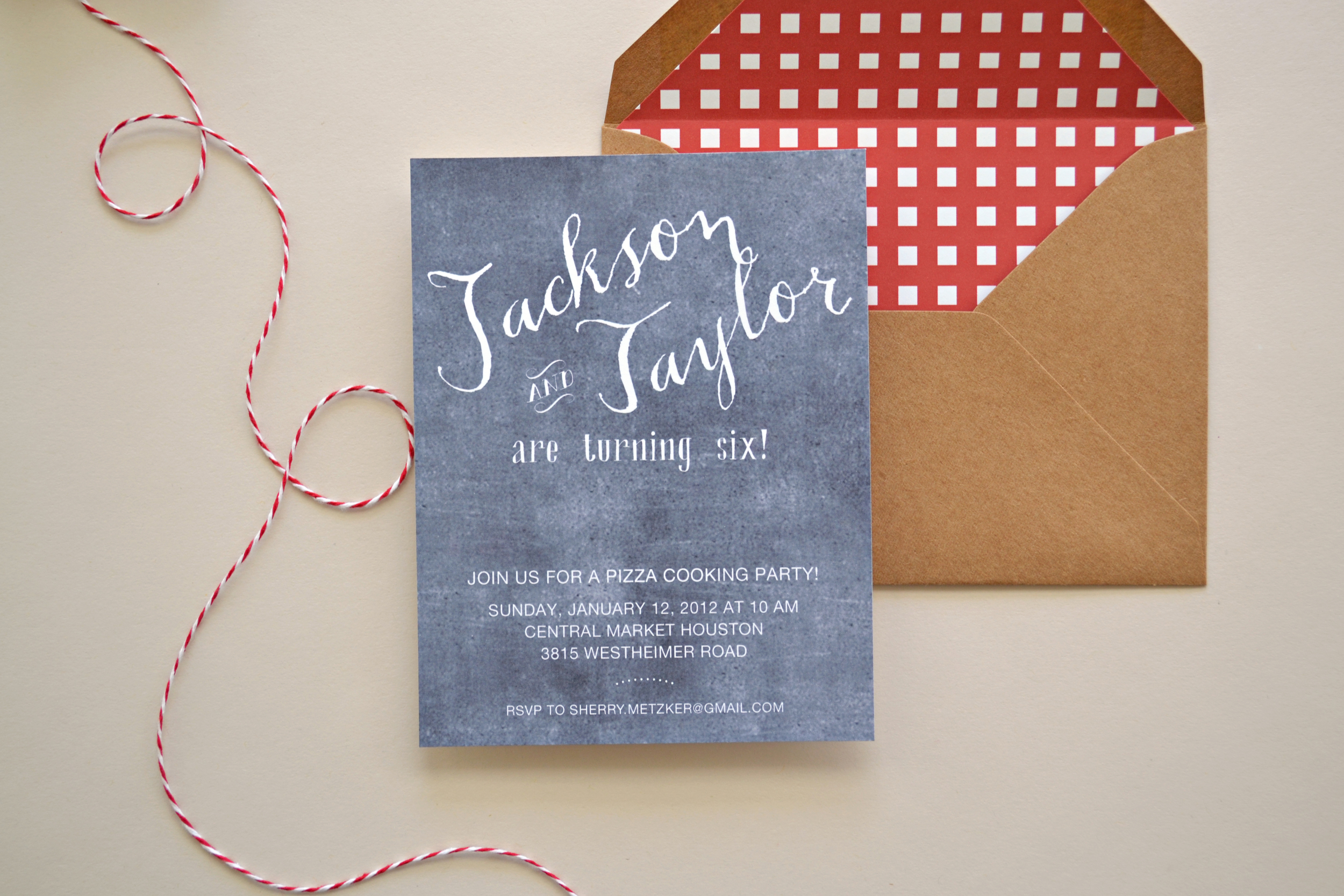 Custom Chalkboard Pizza Party Invitation by Simplicity Papers