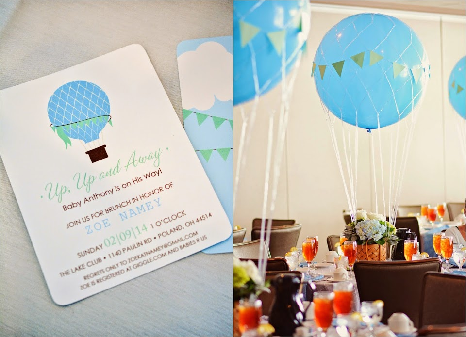 Hot Air Balloon Baby Shower, Invitations and Stationery by Simplicity Papers