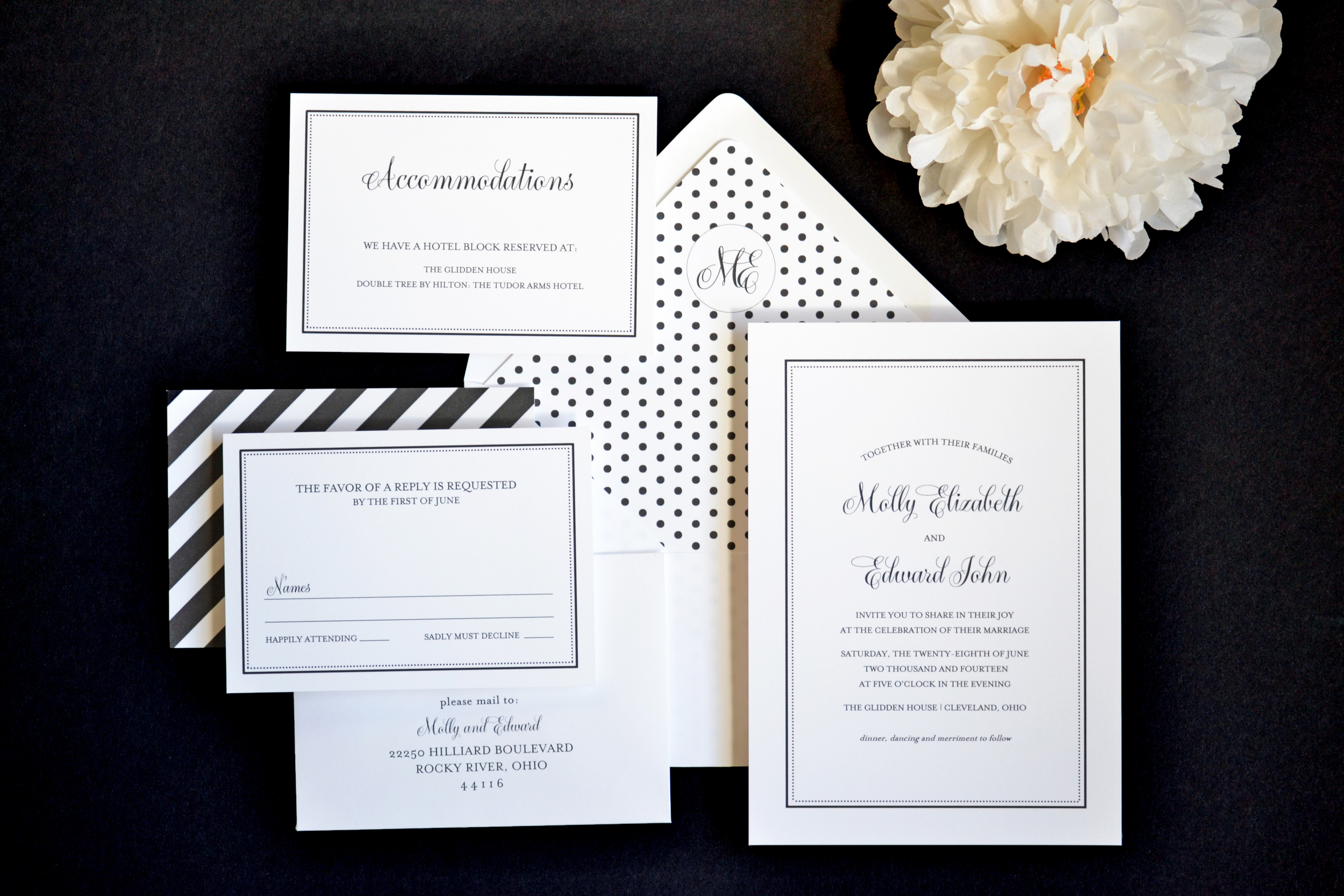 Classic Black and White Wedding Invitations by Simplicity Papers