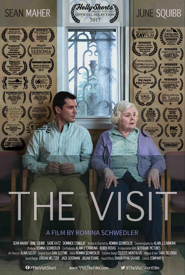 THE VISIT - Ben joins his mom at the visiting area of a public hospital where she often claims to communicate with his wife and son. Through his grief, Ben interrupts her time and again, finally reminding her of his family's tragic death. Ben's flashbacks reveal his last days with them. Today, as he struggles to redefine his relationship with his aging mother, both are faced with the unsettling outcome of his dubious past.Winner - Best Short by a Woman - Burbank International Film Festival. 2016Winner -Honorable Mention – Myrtle Beach International Film Festival. 2017Winner -Audience Choice Award - Martha's Vineyard International Film Festival. 2017Winner - U.S. Short Film Award of Excellence - Catalina Film Festival. 2017Winner - Audience Choice Award - Florence International Film Festival. 2017Winner - Best Actress Award JUNE SQUIBB - Florence International Film Festival. 2017Winner - Best Actor Award SEAN MAHER - Florence International Film Festival. 2017