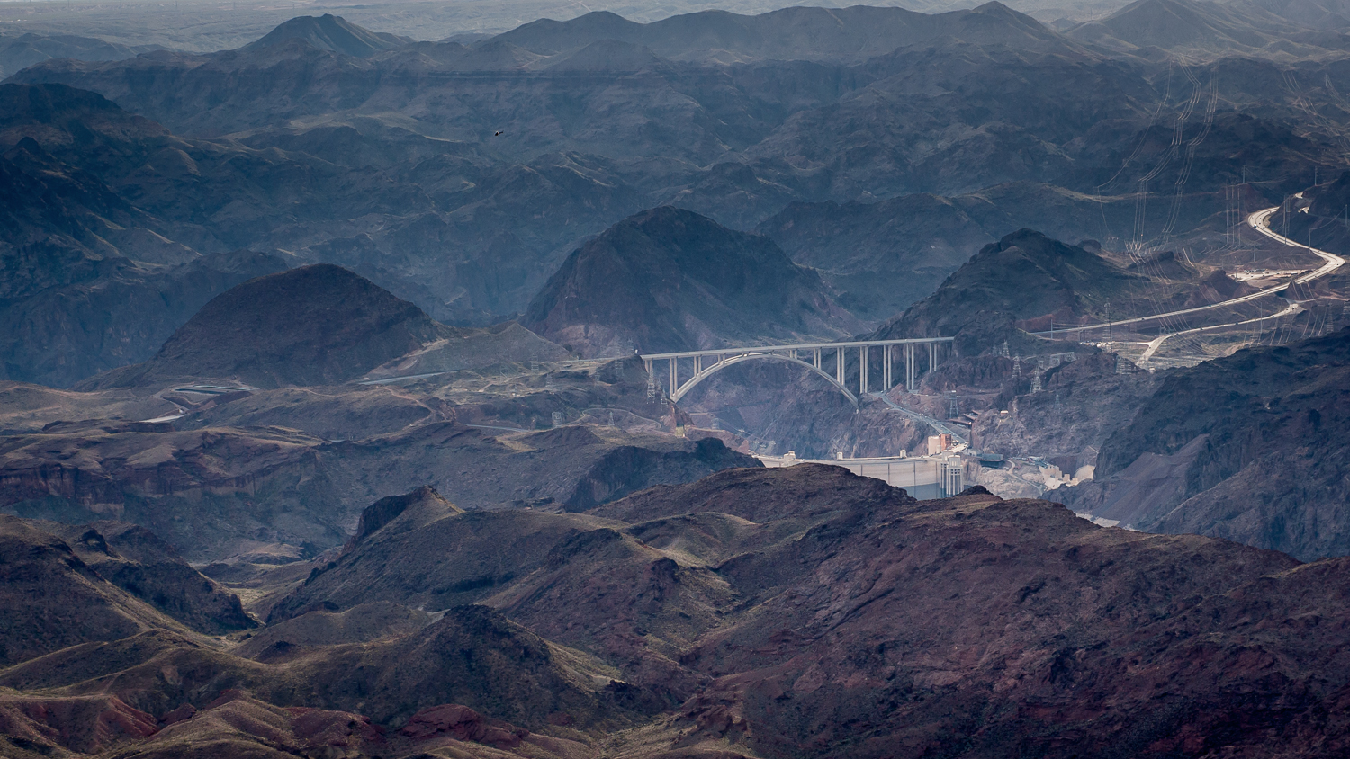 The  Mike O'Callaghan–Pat Tillman Memorial Bridge and Hoover Dam as seen from Fortification Hill