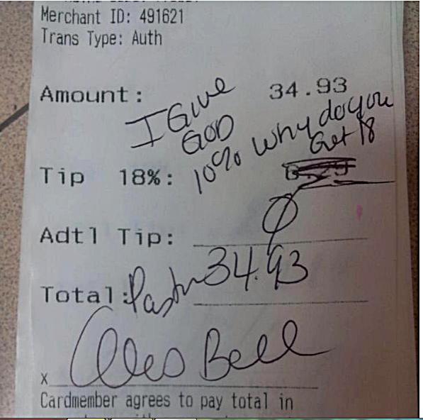 """Pastor Alois Bell left this """"tip"""" for Applebees waitress Chelsea Welch SMDH!!"""