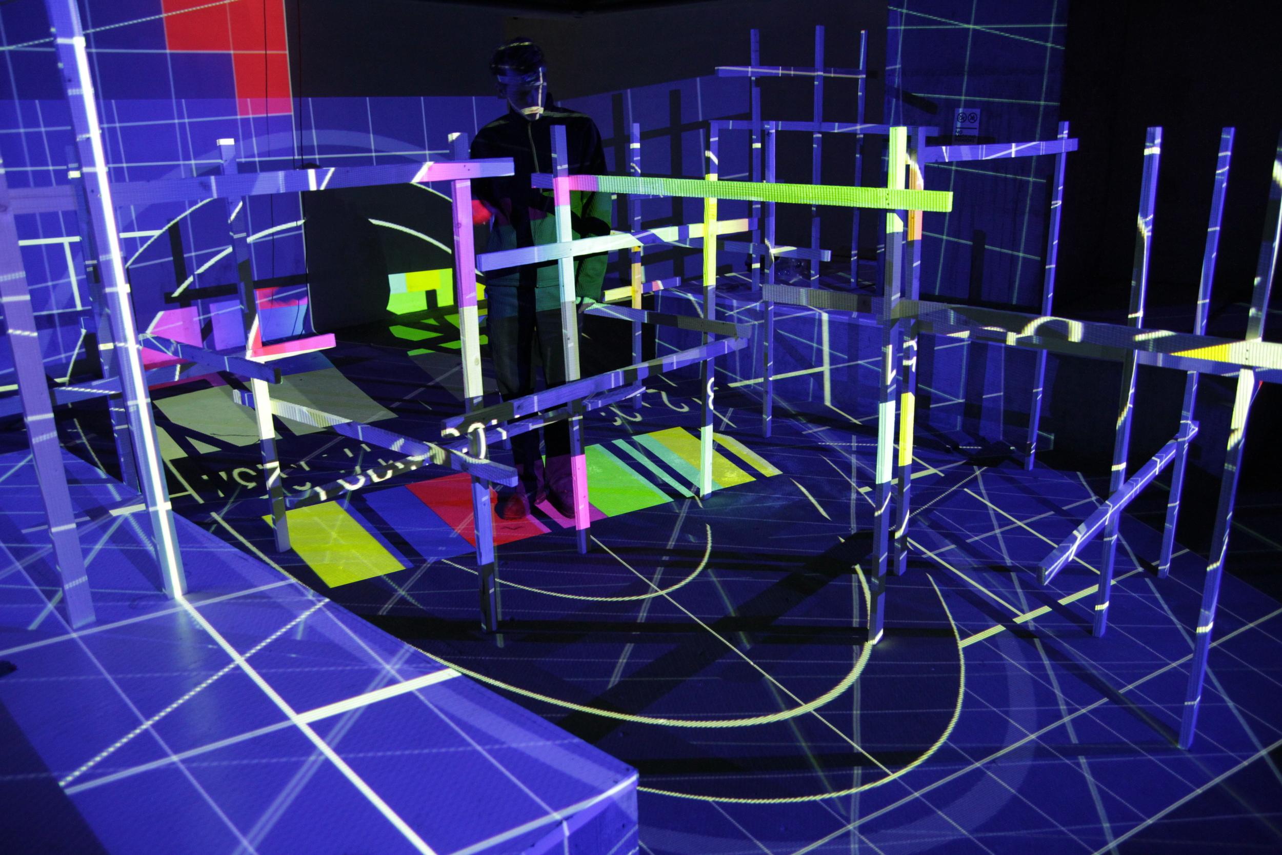 Drei Projektoren mit Fullscreentestbild