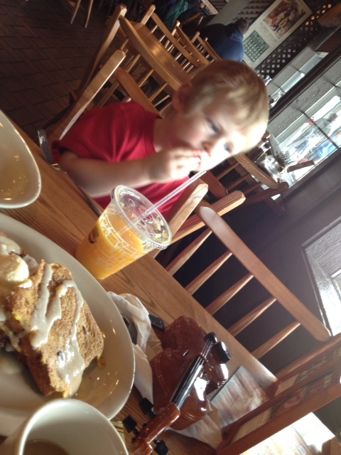 First trip to Cracker Barrel. First bribe of the trip.