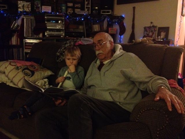 Brandon had no trouble volunteering his Grandpa to read to him.