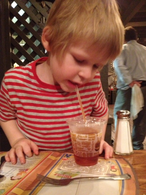 Southern sweet iced tea. I have taught him well.