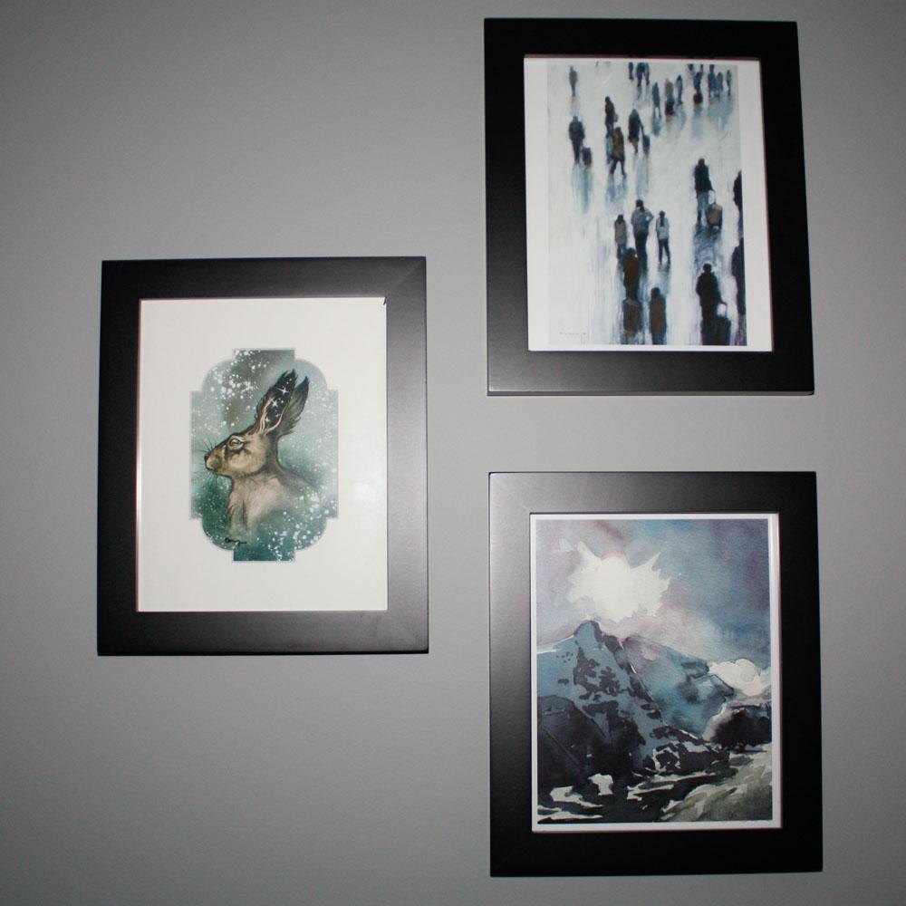 Rabbit Print: Cory Godbey, Crowd of People Print: Janina Ellis, Mountains Print: Sara Gibson