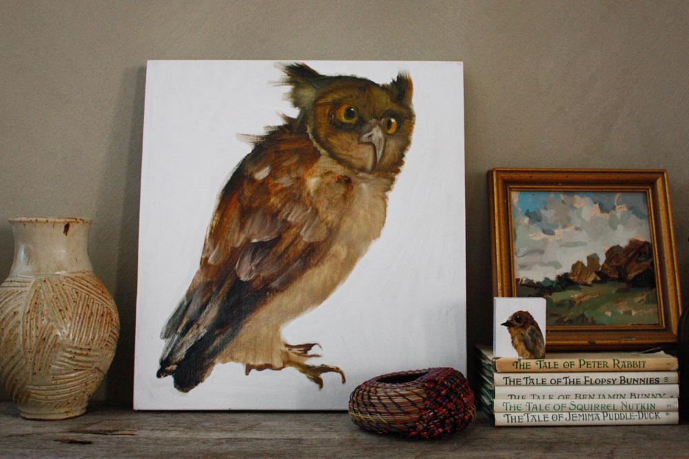 Vase: April Schwingle, Woven Pine Needle Basket: Clay Burnette,Bird paintings: Diane Kilgore, Landscape Painting: Annie Koelle