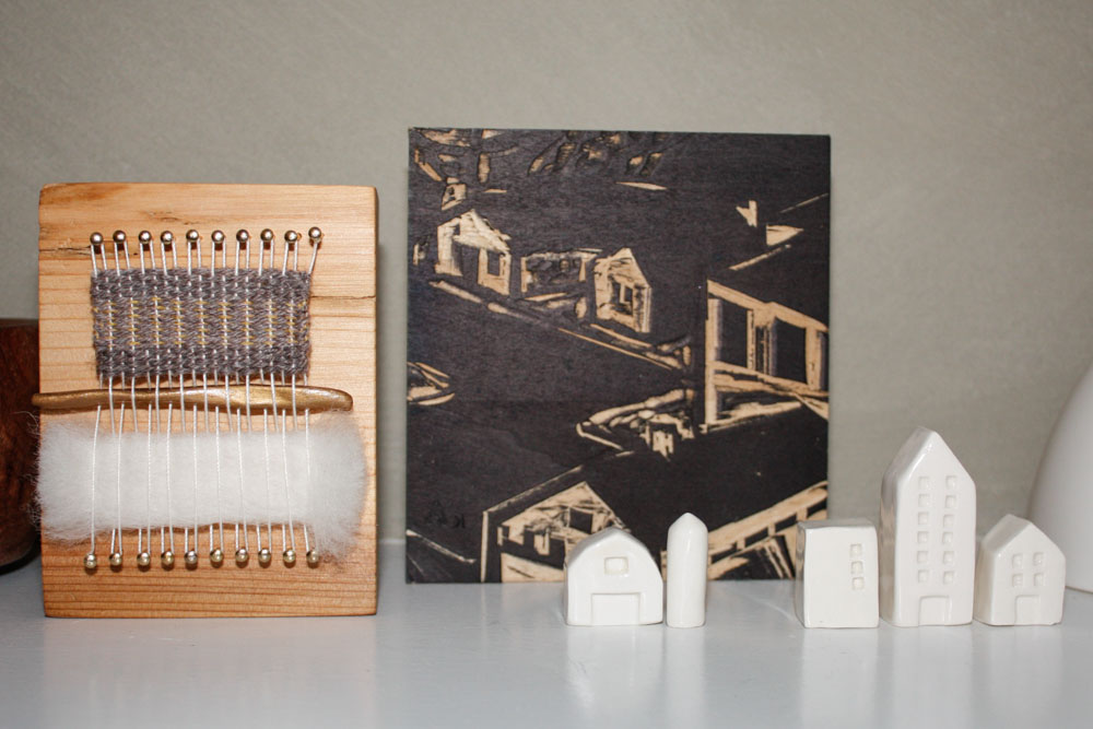 Block Loom: Mary Hamby, Section of Original Wood Block: Kent Ambler, Clay Houses: Crave Studio