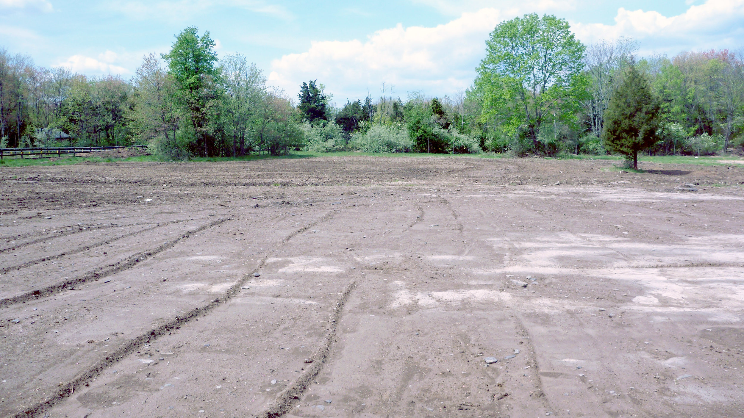 South field view, 2012 During regrading & Earthworks install