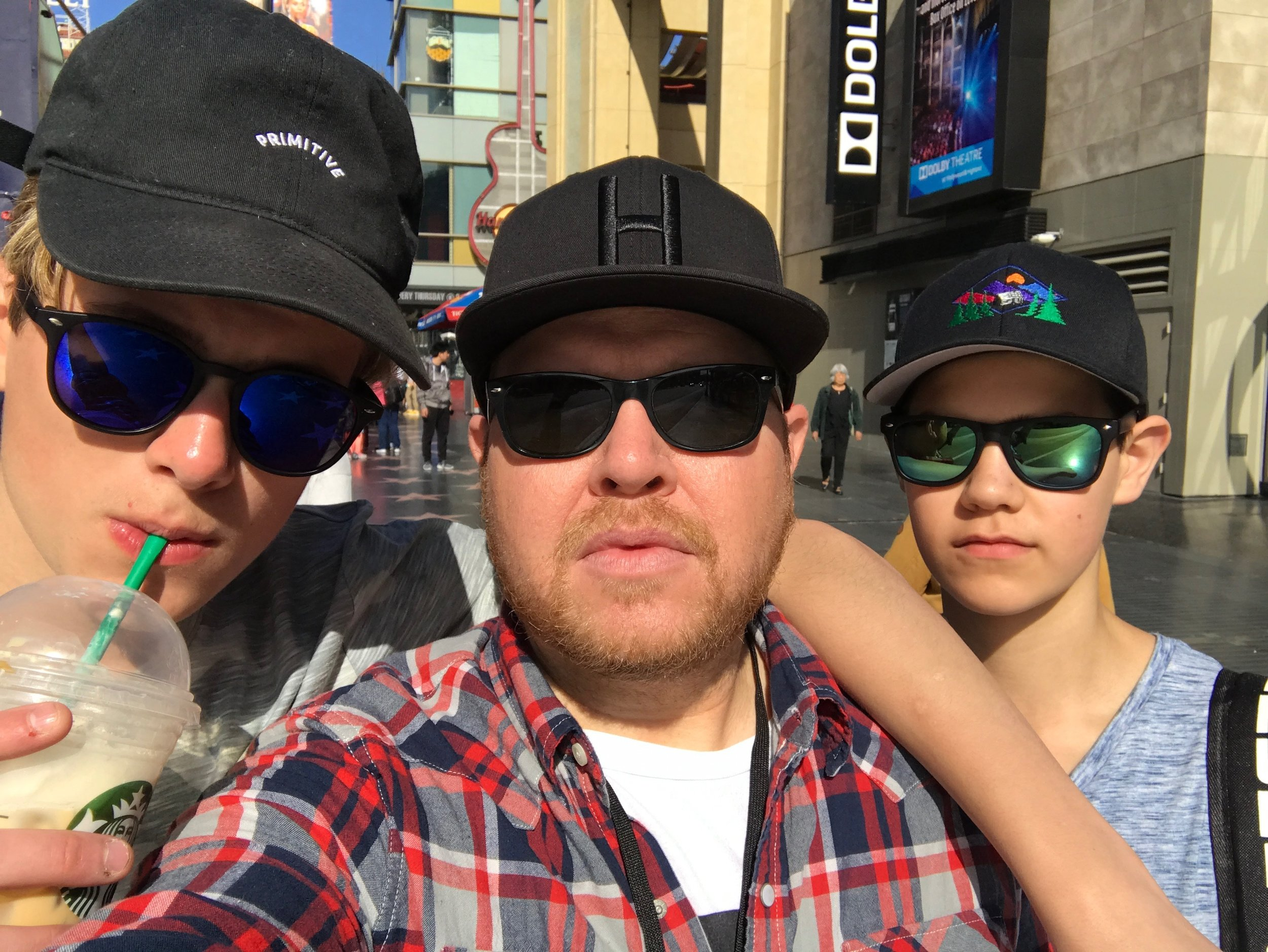 Hanging out with some of the guys from my bus on Hollywood Boulevard