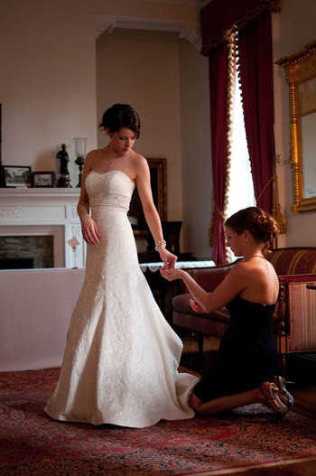 Wedding photograph by Denny Henry of bride getting ready in Virginia