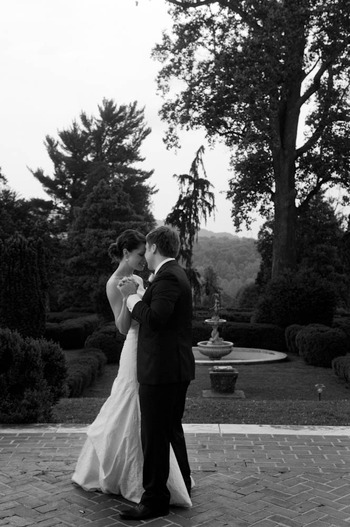black and white Wedding photograph by Denny Henry of bride and groom dancing in Virginia