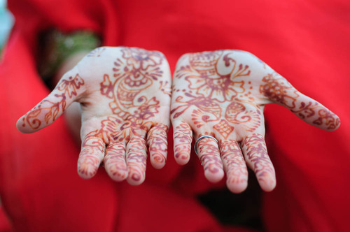 Henna on a Sikh bride's hands