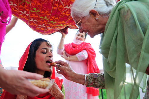Sikh bride with her grandmother