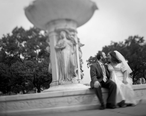 black and white 4x5 wedding photograph
