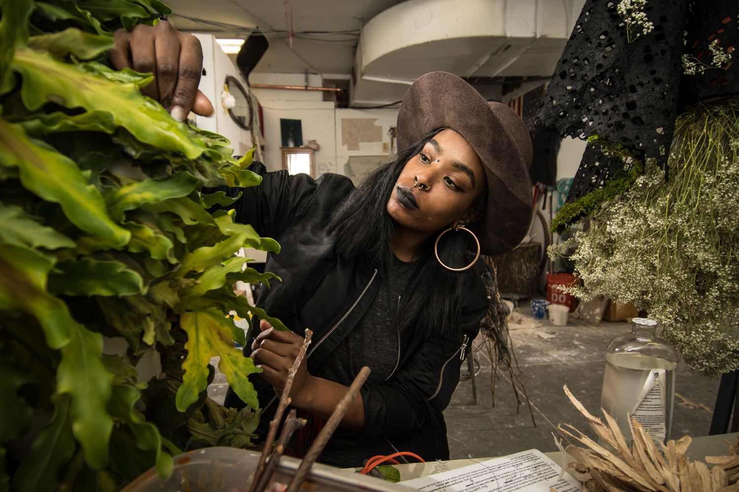 """Corcoran Fine Art student Xohalma (Almá) Runningwolf works on her thesis project titled """"Essence"""""""