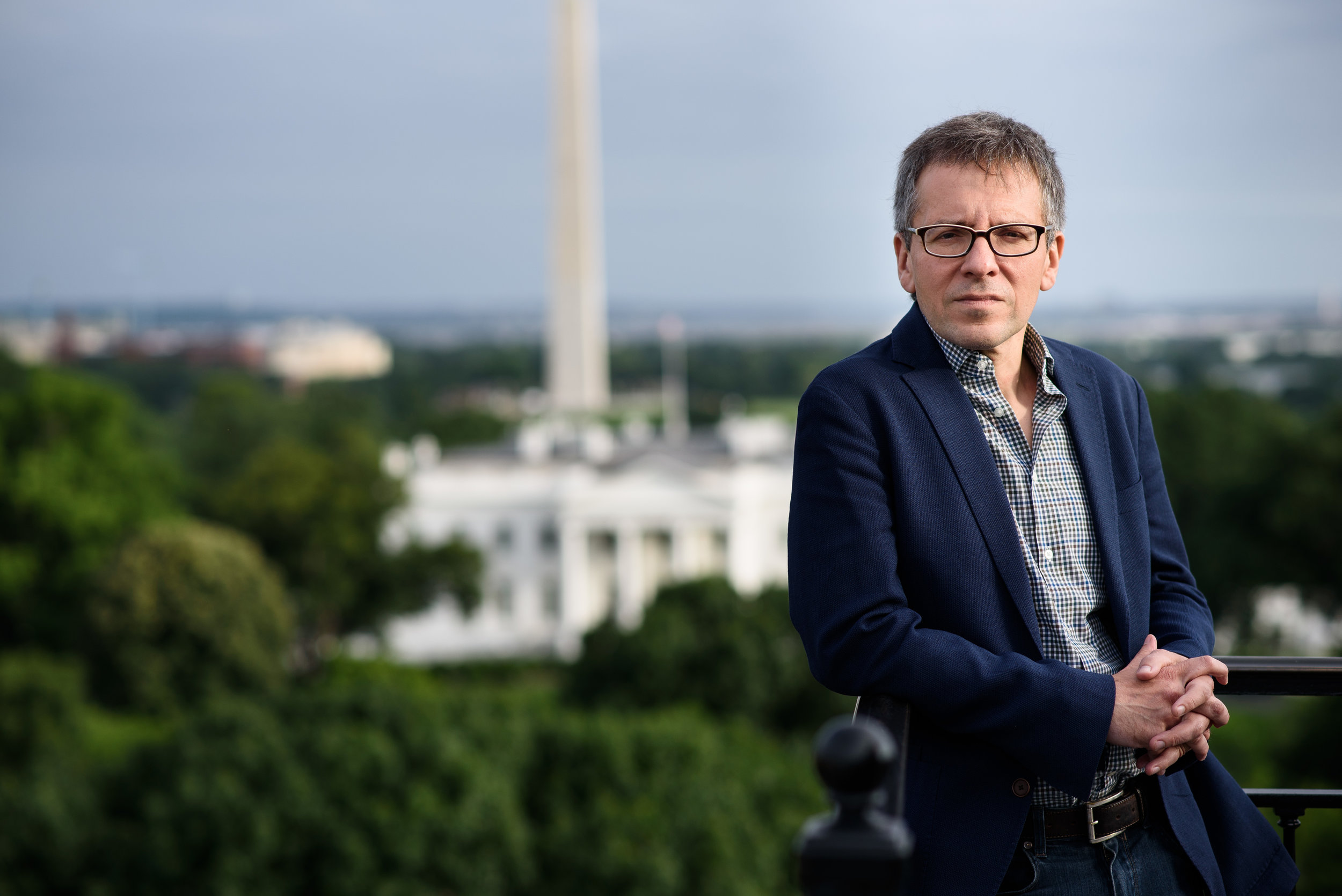 Ian Bremmer in front of the White House and Washington Monument.