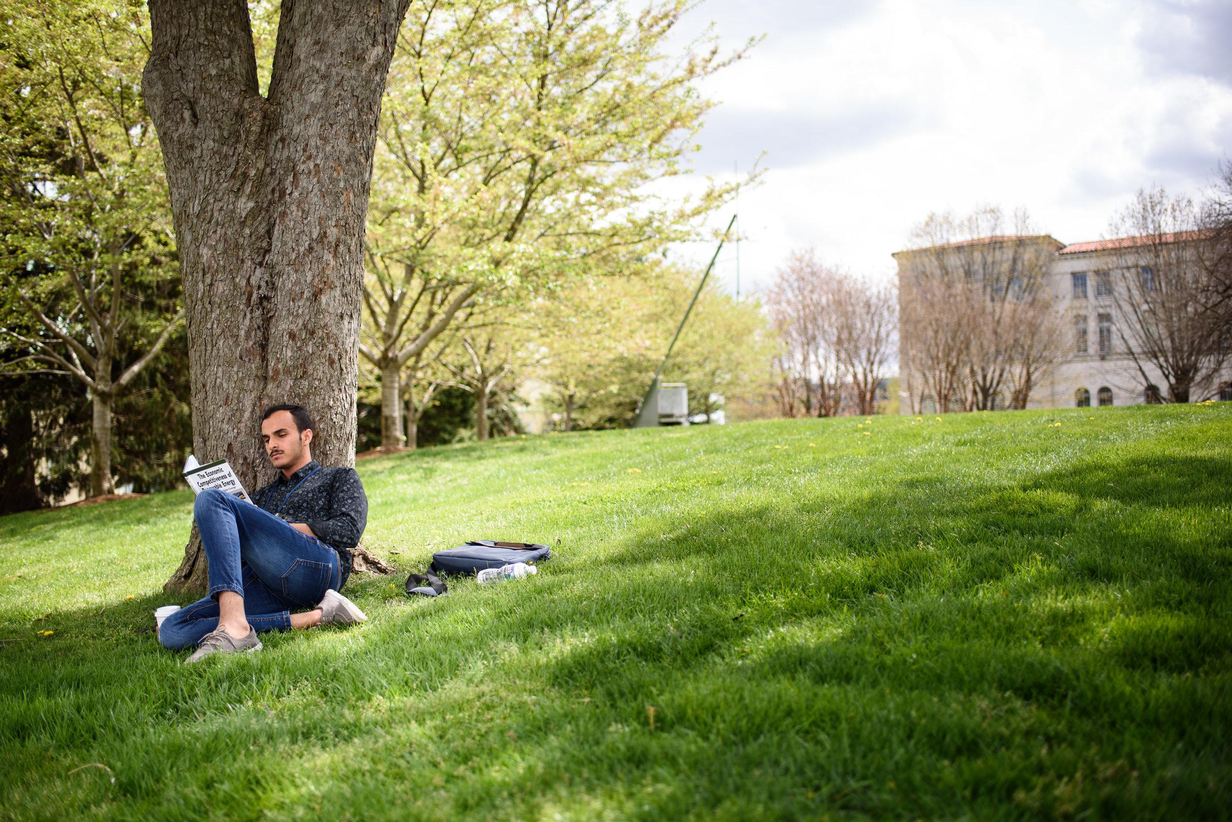Catholic University studetns reading a book under a tree.