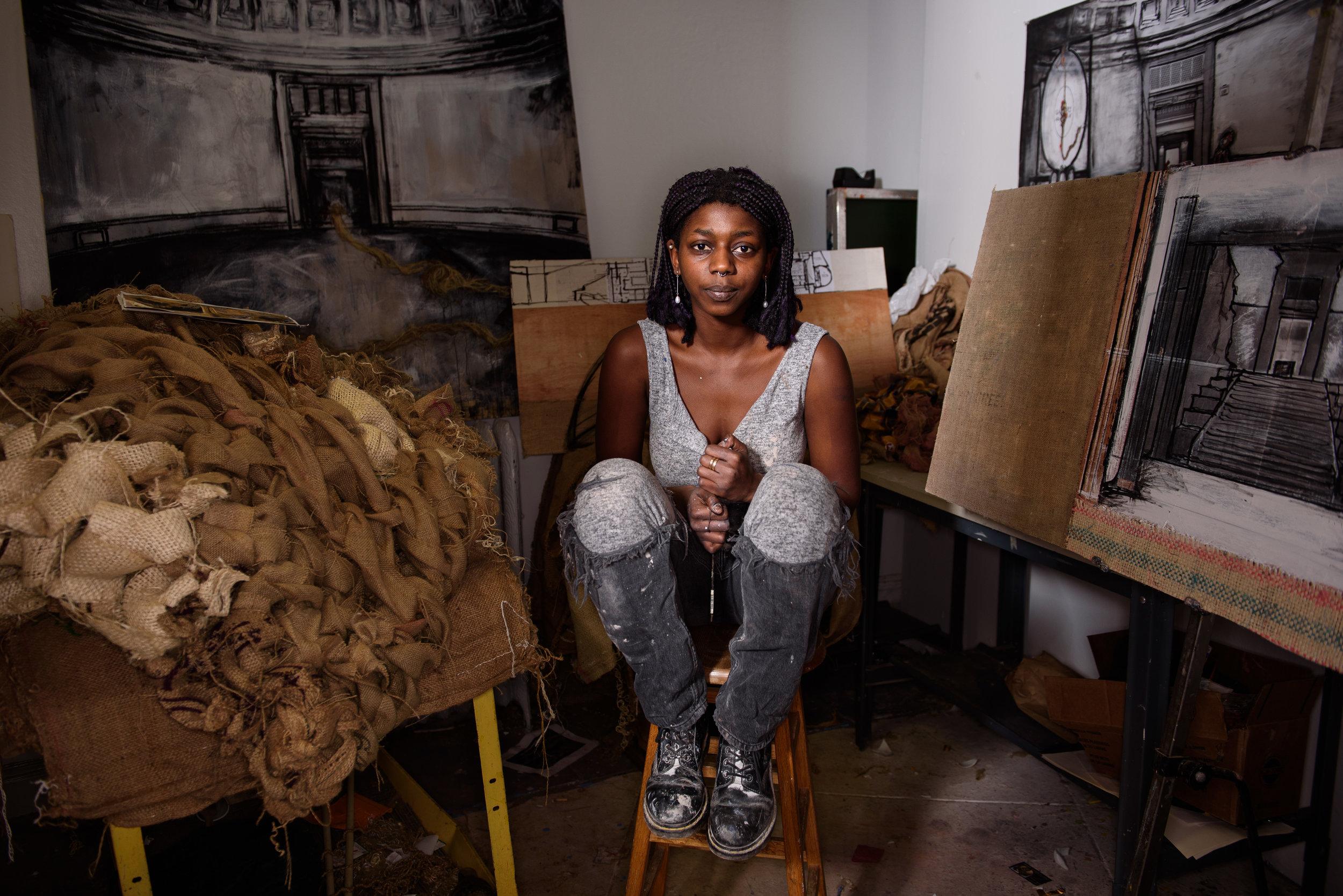 Portrait of artist Yacine Fall photographed in Washington, DC for George Washington University.
