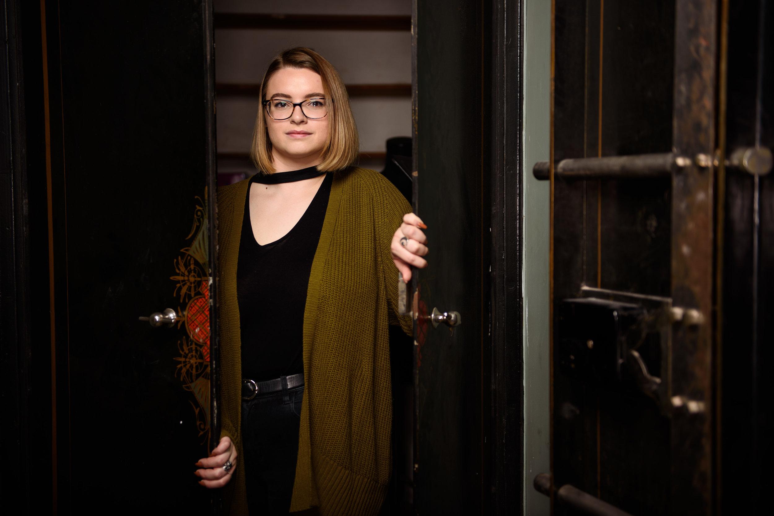 Portrait of Izzy Ionni photographed in Washington, DC for the George Washington University.
