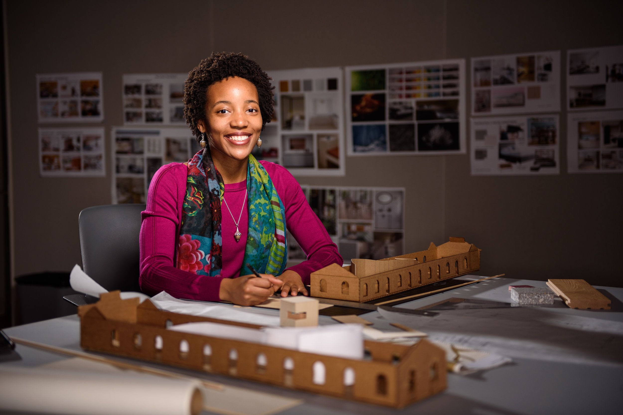 "MFA Interior Architecture student Dani MCKenzie works on her project titled ""The Cherry Tree"" on March 21st, 2019."