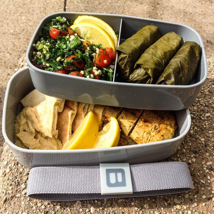 bentgo chicken tabbouleh grape leaves gray box.jpg
