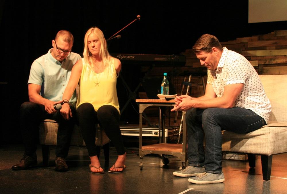 Daybreak Pastor Jason Graves with Bethany Hamilton and husband Adam Dirks Easter 2015