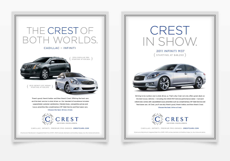 Crest Infiniti Cadillac Magazine Ads