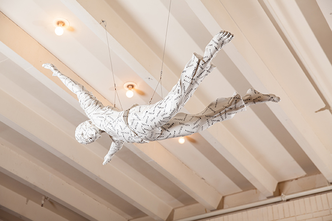 Jonathan Borofsky  (American, born 1942) White Flying Figure with Numbers, 1984  Acrylic, ink, sealer on cast urethane
