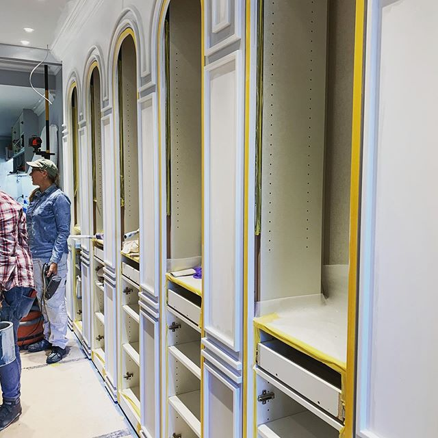 Work in progress. A beautiful new jewellery boutique for the extremely talented designer @matthewely. We've designed a Parisian salon complete with a corridor of archways for the jewels to be held. Hand finished in paint by bespoke artisans. We cannot wait for the grand reveal. Lighting by @Electrolight . Design by us @melissacollison for @Matthew ely_ and a custom rug by @cadrys  Keep your eyes peeled for more to come. . . . . #rugs #retaildesign #interiordesign #jewellery #diamonds #french #paris #melissacollison #porterspaints