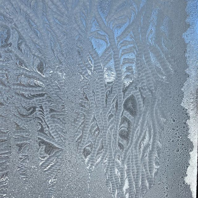 Time to find the leg warmers I knit. (Image of thick ice on my office window showing bright blue skies beyond.)