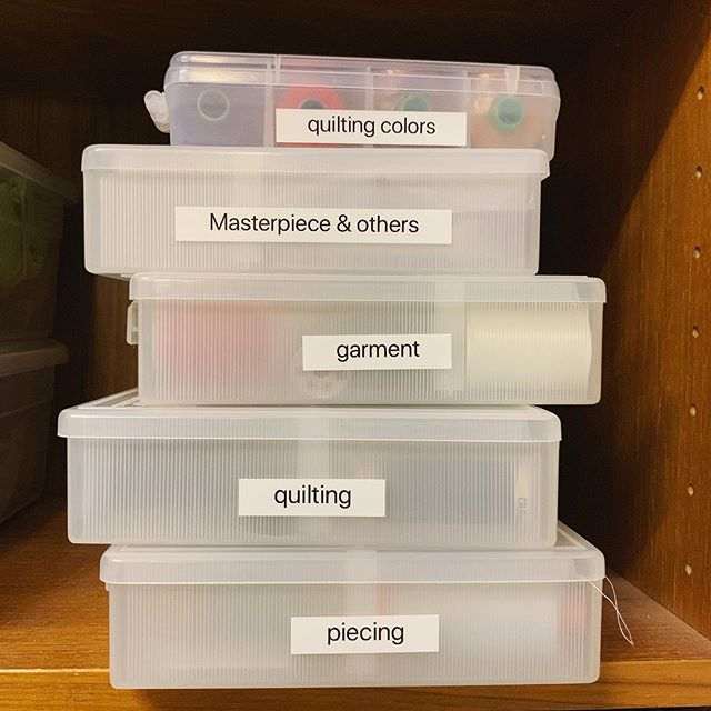 Finally organized and labeled my threads, but I'm afraid I need more boxes.  #sewistsofinstagram #quilting #organized (Image labels say: quilting colors, Masterpiece & others, garment, quilting, and piecing)