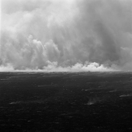 Grass Fire, Flint Hills, 2006 Negative #W5_18_06 from the series  West and West   24 x 24 inches edition of 5 carbon pigment print
