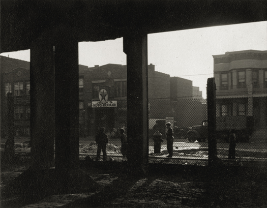 Jerome Leibling Children Under El, Coney Island, 1946 3.75 x 4.75 inches vintage silver print