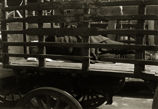 Aaron Siskind Untitled (man sleeping on cart), c.1930s 3 x 4.25 inches vintage silver print