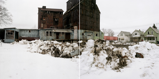 Wollenberg Grain Elevator in Working-Class Neighborhood, Buffalo, New York, 2001 24 x 38 inches edition of 7 archival pigment print