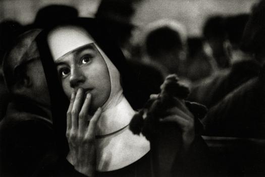 Nun Waiting for the Andrea Doria, 1956 7.5 x 14 inches silver print