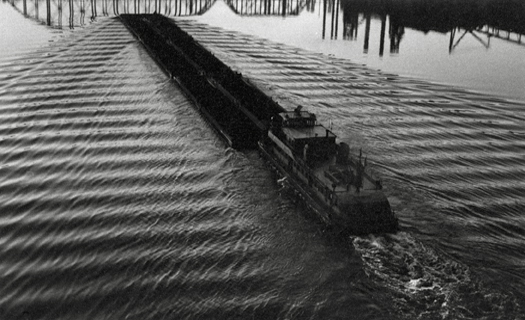 Tug and Barge, Pittsburgh, 1955-56 4.25 x 7.5 inches vintage silver print