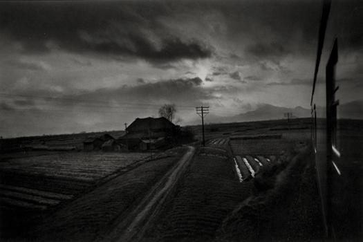 Train Panorama Near Hitachi, c.1961-62 9 x 14 inches silver print