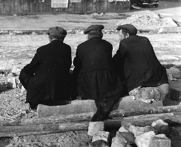 Untitled (Three Men from Behind, Paris), 1938  8 x 9.875 inches vintage silver print