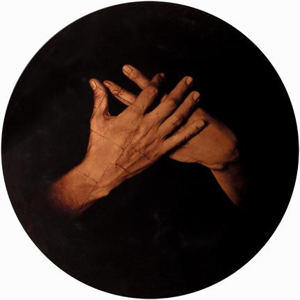 Estudio de la Anunciación de Murillo, 2006 (in collaboration with Graciela de Oliveira) Panel 1: 39 inches in diameter detail view of triptych archival pigment print